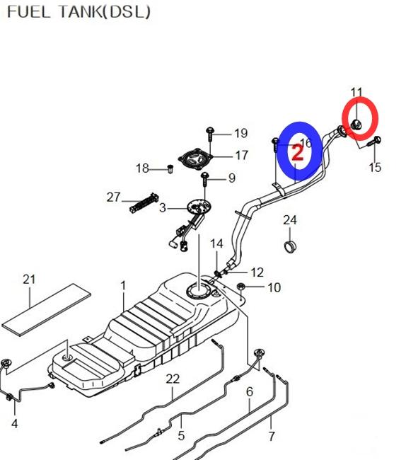 Ssangyong Fuel Filler & Cap for REXTON Diesel 2261008023+